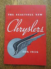 Original 1936 Chrysler automobile advertising booklet