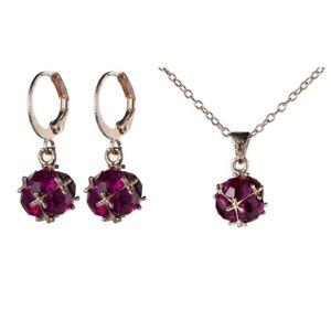Unique Shine Round Red Kunzite Rose Gold Pendants Necklaces Dangle Earrings Sets