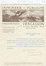 Paris X ème - Superbe Entête Art Déco Imprimerie - Publicité VERCASSON de 1919