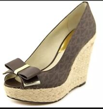 MICHAEL KORS MK Logo Meg Brown Signature Bow Tie Platform Wedge Shoes  10 M NWB