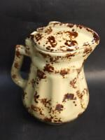 Antique Australian Sunshine Electric Pottery Jug Mottled Brown on Cream 1930's