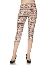 Women's New Mix Aztec Print Yummy Buttery Soft Brushed Capri Leggings One Size