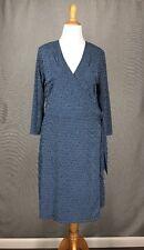 ISAAC MIZRAHI Dress XXL Blue Geometric FOR TARGET Navy Yellow Dot Knit Wrap