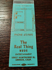 Vintage Matchcover: The Real Thing, Adult Club, Lennox, CA  42