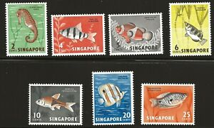 Singapore Scott #53-59, Singles 1962 Complete Set FVF MH