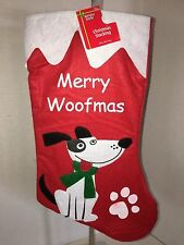 """Dog """"Merry Woofmas"""" Red Multi-Color 18"""" Christmas Stocking NWT"""