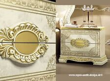 Barock Hochglanz Nachttisch Antik Vintage Art Stilmöbel Italien Luxus creme