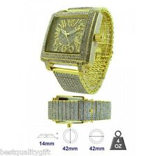 ICE MASTER SQUARE GOLD PAVE CRYSTALS BEZEL,DIAL AND BAND,BLING GLITZ MEN WATCH