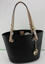 NEW AUTHENTIC MICHAEL KORS JET SET ITEM BLACK LEATHER PURSE MD TOTE HANDBAG