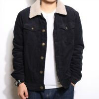 Men Corduroy Sherpa Fleece Lined Jacket Coat Japanese Outwear Leisure Winter