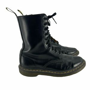 Dr. Martens Women's Alix 10-Eye Pointed Boots Black Size 8 Leather