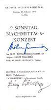 ARTHUR GRUMIAUX Violinist scarce autographed program, Vienna 1972