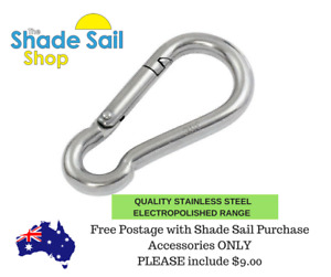 NEW 6mm Snap Hook 316  Stainless Steel fitting Shade Sail Boat Accessories M6