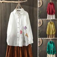 ZANZEA Women Long Sleeve Floral Cotton Tops Blouse Ladies Casual Collar Shirts