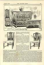 1900 Oak Furniture Jacobean Chest Chippendale Chairs