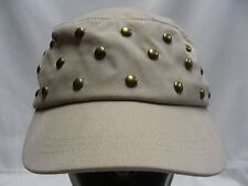 D&Y - TAN - BRASS STUDDED - ONE SIZE - CADET STYLE CAP HAT!