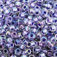 Miyuki Round Seed Beads Size 6/0 Sparkling Purple Lined Crystal AB 20g (6-2607)
