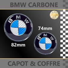 2 X BMW LOGO CARBONE BLEU/BLANC INSIGNE EMBLEME 82mm + 74mm CAPOT/COFFRE - NEUF
