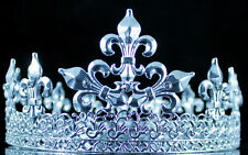 Medieval Full King Silver Metal Crown Rhinestone Crystal Fleur-De-Lis Men H919S