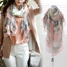 Ladies Pink Grey Girls Long Print Soft Neck Scarf Magic Shawl Large Voile Wrap