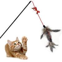 NEW Steel Wire Kitten Cat Toy Feather Rod Teaser Bell Play Pet Dangler Wand &fj