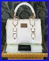"""NEW GIANNI VERSACE  WHITE QUILTED PATENT LEATHER """" SNAP OUT OF IT"""" SMALL Bag"""
