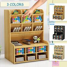 Wooden Desk Organizer Student Pencil Makeup Brush Holder Box Storage Case Home