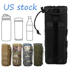 Tactical Molle Military Drawstring Kettle Pouch Holder Travel Water Bottle Bags