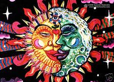 SUN + MOON Psychedelic Art UV Black Light Postcard Glow-In-The-Dark Neon Fluoro