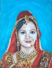 original oil painting:varsha in hindu wedding costume II