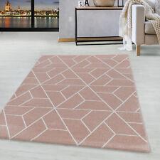Kurzflor Design Teppich Wohnzimmerteppich Geometrisches Muster Linien Rose
