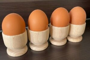 Egg Cups Beech Wood Breakfast Boiled Eggs Wooden Kitchen Dining Table (Set of 4)