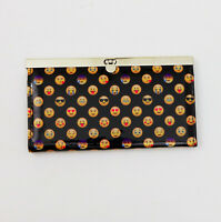 Emoji Faux Patent Leather Clutch Wallet 7.5x4x.75 inches