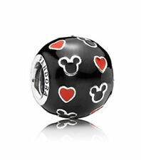 Authentic Pandora Charm Bead#Disney Mickey Mouse & Hearts Enamel 791477ENMX