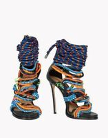 Colorful Mixed Color Weave Womens Stilettos Cross Strap Rope Peep Toe High Heel