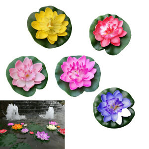 5pcs 10cm Faux Floating Water Lily, Artificial Lotus Flower Lily Pad Pond Decor