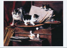 RONNER-KNIP Feline Art Print Mother Cat & Naughty Kittens PAINTING LESSON Paint