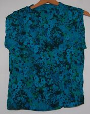 Vintage 50s Sleeveless Blouse Blue Black Green Floral Polyester Rayon S