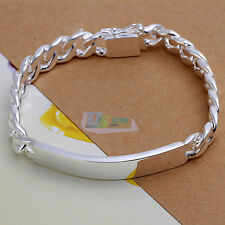 10mm Ladies Men Jewellery Charm Xmas Curb Gift Chain Silver Bangle Bracelet