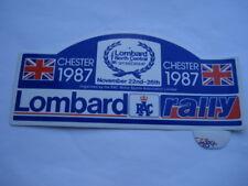 1987 Lombard R.A.C. RALLY Chester Nov 22ND-26TH 1987 RECUERDO COCHE ETIQUETA DE LA VENTANA