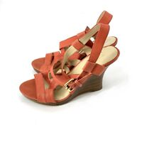 "Nine West ""Showntell"" Women Leather Wedges Sandals Shoes Sz 7M"