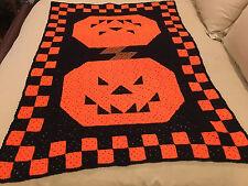 Handmade Afghan Throw / Blanket - Designer Collection - Halloween Pumpkins
