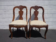 Pair of Antique Chairs Seating Italian Empire Neoclassical Ornate Decorative
