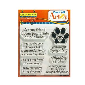 Pet Sympathy Cling Stamps Words Dare 2B Artzy craft clear stamp set 16201