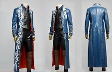 Devil May Cry DMC 3 Vergil Cosplay Costume PU long blue coat jacket custom made