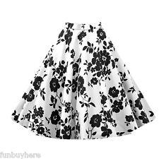Womens Retro Vintage 50s Style Rockabilly Skirt Pinup Swing Pleated Midi Dresses