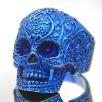 Metallic Blue Flower Skull 316L Stainless Steel Ring Men's Rocker Biker Jewelry