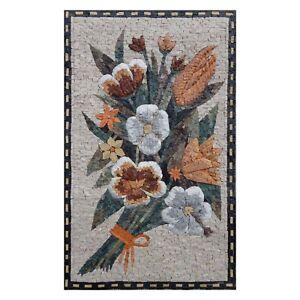 Multicoloured Flower Bundle Handmade Marble Natural Stone Vivid Mosaic Wall Art