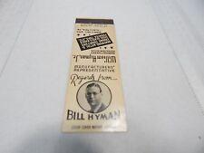 Vintage! William Hyman Jr. Bentwood,Metal,&Chrome Furniture PA. Matchbook Cover