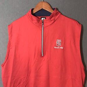 FootJoy 1/4 Zip Nylon Spandex Embroidered Golf Vest Red Men's Size L Large